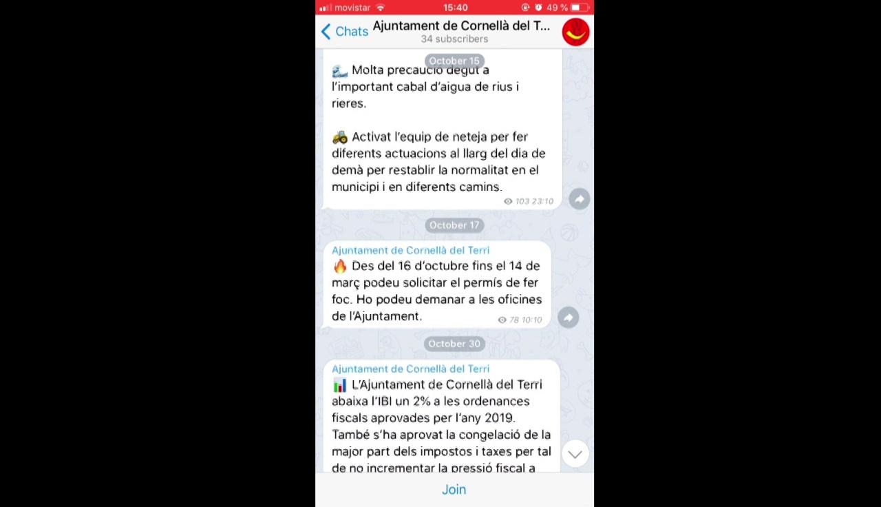 Cornellà del Terri crea un canal a Telegram per informar els veïns i veïnes